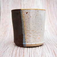 Vintage Stoneware Coffee Cup - Tan Light Blue Taupe Small Brown Chocolate Split Color Espresso Mug Hot Drink Retro Rustic Unique OOAK Clay