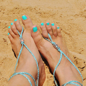 Barefoot Sandals in metalic turquoise cording and 3 clear and rhinestone beads