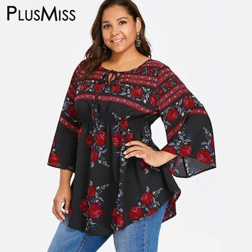 PlusMiss Plus Size Hippie Ethnic Boho Print Tunic Tops XXXXL XXXL XXL Women Clothes 5XL Long Sleeve Blouse Big Size Autumn 2018