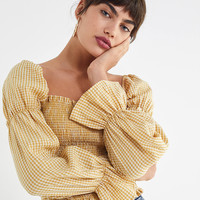 UO Gingham Cinched-Sleeve Blouse | Urban Outfitters