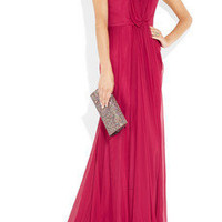 Alberta Ferretti | Silk-chiffon off-the-shoulder gown | NET-A-PORTER.COM