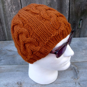 Men's Cable Knit Beanie in Fox Red, Men's Hat, Orange, Rust, Winter Hat, Fall Hat, Knit Hat, Knitting Hat, Men's Accessories, Fall Hat