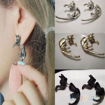 Bluelans 1 Pair Popular Long Tail Small Leopard Cat Puncture Girls And Boys Stud Earrings for Men Women 00SY