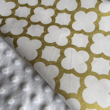 Baby Girl Blanket, Minky Blanket, Gold and White Bedding, Stroller Blanket, Crib Bedding, Gold Nursery