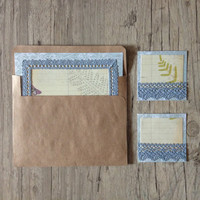 Crafted writing set - letter writing paper - cards to write some words - note paper - blue white beige creamy - fern - europeanstreetteam