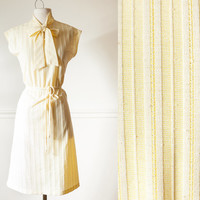 Vintage Yellow Dress | 70s Dress 70s Striped Dress Pussy Bow Ascot Kitten Bow Secretary Dress A Line Skirt High Waisted Skirt Midi Mod Retro