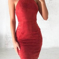 Halter Off Shoulder Bodycon Mini Dress