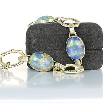 Art Deco Bracelet, 8 inch Opal Bracelet 1920s antique Czech jewelry