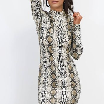 Not Shy Snakeskin Mock Neck Dress
