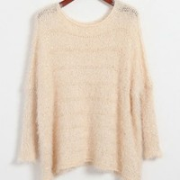 Sparkling Sequins Batwing Sleeves Mohair Sweater