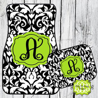 Car Mats Damask Personalized Monogrammed Floor Car Mat Initial Lime Green Black