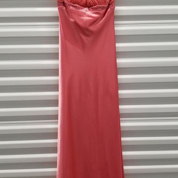 CLEARANCE - Long Chiffon Coral Halter Semi Formal Dress (Size Small)