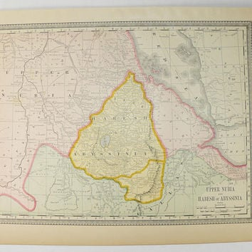 1881 Upper Nubia Map, Abyssinia Map 1881 Rand McNally Map of Africa, Red Sea, Gulf of Yemen, Historical Map, Habesh Africa Map, African Art