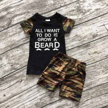 2016 new arrival baby boys summer outfits boys all I want to do is grow a BEARD outfits boys camo clothing top with shorts