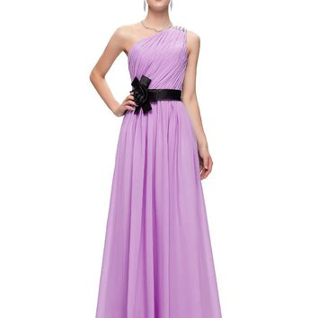 Robe de Soiree Evening Dresses Purple Blue Yellow Pink One Shoulder Floor Length Dress Chiffon Long Evening Party Gown 6016