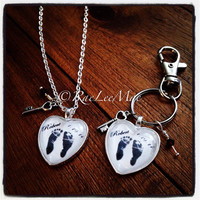 Foot print necklace-actual baby footprints -RaeLeeMae exclusive, Key to my Heart-mother's baby's feet