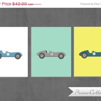 Retro Cars Nursery Art Prints / 3 piece set / three 8x10 inch trio / baby boy's room decor / aqua , yellow / race cars