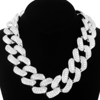 "14k White Gold Finish Iced out 30mm 18"" Cuban Choker Chain"