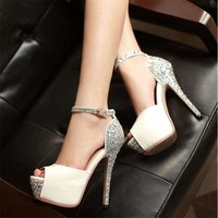 Sexy Glittering Open Toe Women High Heels