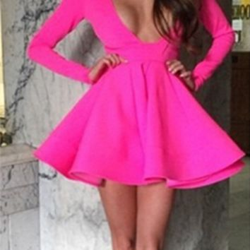 Hey Now Fuchsia Pink Long Sleeve Plunge V Neck Skater Circle A Line Flare  Mini Dress 7a056bbba70e