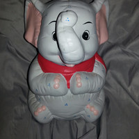 Vintage 1970s APEX Ceramic Glass Elephant Cookie Jar - Canister