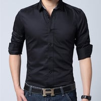High Quality Long Sleeve Formal Suit Tops Shirts PLus Size Solid Color Cotton Business Shirt Mens Dress Shirts M-XXXL J2411