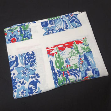 1950s Vintage Cotton Print Tablecloth with Mexican Theme in Blues, Red, & Green, White Cotton Background, Vintage Linens, 1950s Home Decor