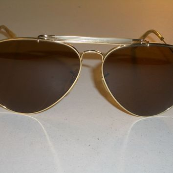 1970's 62[]14 VINTAGE B&L RAY BAN B15 BROWN OUTDOORSMAN AVIATOR SUNGLASSES SUPER