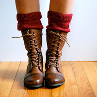 Knitted Boot Cuffs, Boot Toppers, in Burgundy, Maroon, with Flowers, Wool