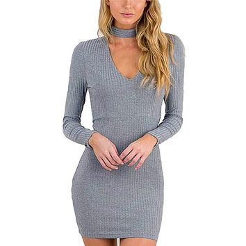 Autumn Winter Pencil Dress Woman Halter Knitted Black Bodycon Dress Women Sexy Short V Neck Sweater Long Sleeve Club Party Tunic