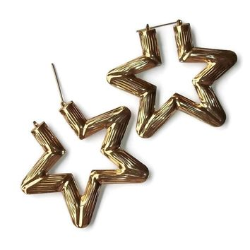 "Statement Big Cutout Star Diva Hollow 3 1/4""  Gold Tone Hoop Earrings"