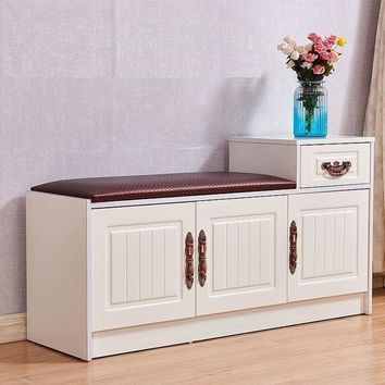 Modern 3 Cabinet European-Style Shoe Storage Bench