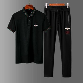 Gucci Men Women Top Pants Trousers Set Two-Piece Sportswear Black