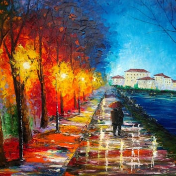 Original Oil Painting - The Lights Of The Night - Huge Umbrella Painting -Rainy Landscape - Oil On Canvas - Contemporary Fine Art By Gargovi