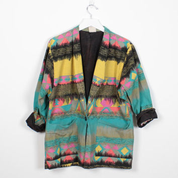 Vintage 80s Blazer Jacket Black Teal Yellow Pink Abstract Print Boyfriend Blazer 1980s Tribal Southwestern Print Boxy Sport Coat M L Large