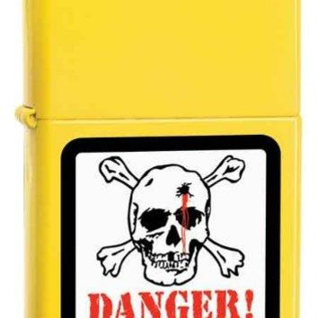 Zippo Custom Lighter - Danger Skull on Lemon Matte Logo