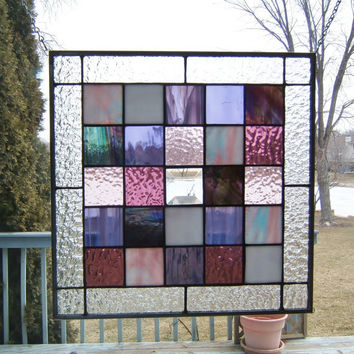 Purple squared stained glass panel geometric abstract stained glass window panel modern window hanging suncatcher PS1