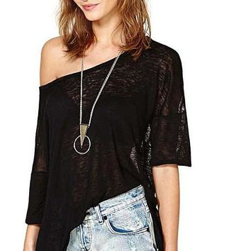 Slash Neck Solid Black Women Top Sexy Backless Semi-sheer T-Shirt Casual Hollow Out Split Tee One Shoulder Tee