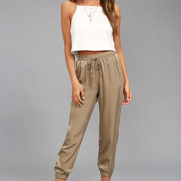 Smooth Moves Taupe Satin Jogger Pants