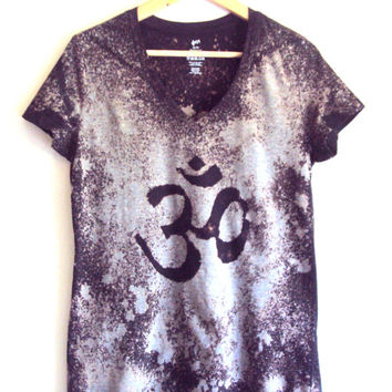Galaxy Nebula Om Yoga T-Shirt Hand Painted Unisex Top Yoga Workout Fitness Zen T-Shirts Gift Ideas