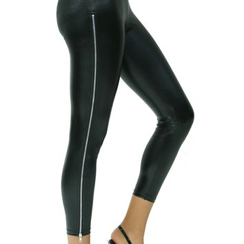 Leather Look Stretch Skinny BodyCon Leggings