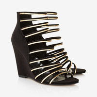 strappy metallic wedge sandal