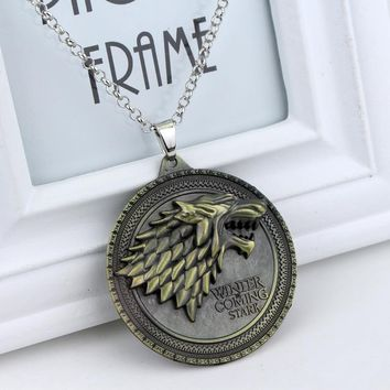 "Game of Thrones Necklace House Stark Winter Is Coming Bronze 2"" Metal Family Crest Pendant Jewelry Souvenirs"