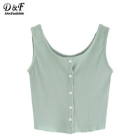 Dotfashion Summer Style For Girls Buttoned Front Ribbed Knit Crop Tank Tops Womens Casual New Arrival 2016 Sleeveless Top