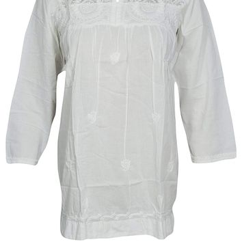 Mogul Interior Flora Womens Bohemian Indian Tunic Hand Embroidered Cotton Peasant White Blouse Tops S/M/L