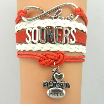 Infinity Love  Oklahoma Sooners Sports Team Bracelet Crimson Cream - Custom Sports Cheer Bracelets