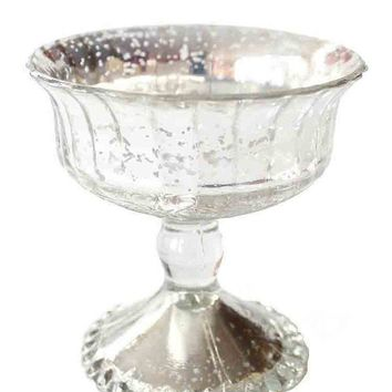 "Antique Silver Mercury Glass Centerpiece Bowl - 4.5"" Tall x 4.5"" Wide"