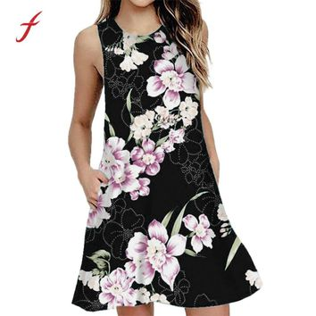 Feitong Casual Dresses Women Summer Casual Sleeveless Floral Printing Swing Mini Dress Sundress with Pocket Vestidos Dresses