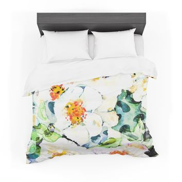"83 Oranges ""Watercolor Flowers"" Orange Green Painting Featherweight Duvet Cover"
