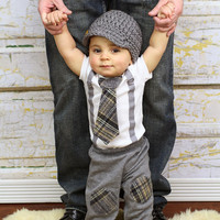 Baby Boy Tie Bodysuit with Suspenders, Tie, and Hat. Preppy, Photo Prop, Fall, Winter.  1st Birthday, Little Man Mustache, Plaid Tie
